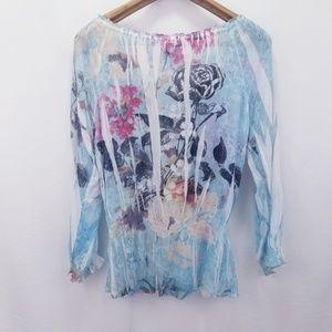 Mushka by Sienna Rose Tops - Mushka by Sienna Rose Floral Sheer Top